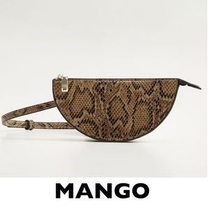 MANGO Khaki Brown Croc-Effect Semicircle Belt Bag